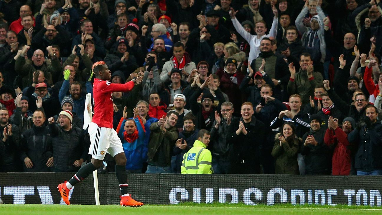 Paul Pogba celebrates after scoring for Manchester United against Newcastle in the Premier League.