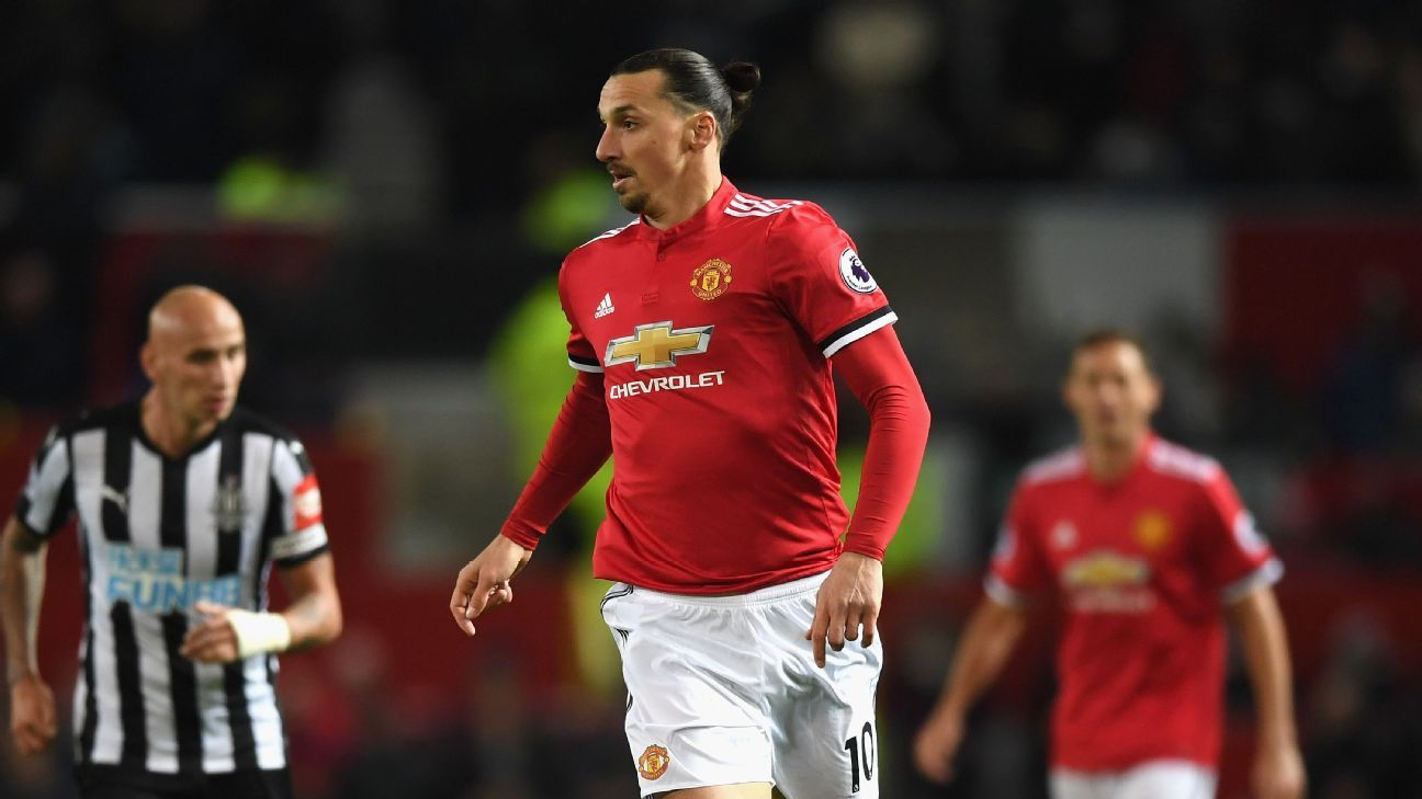 Zlatan Ibrahimovic in action for Manchester United against Newcastle.