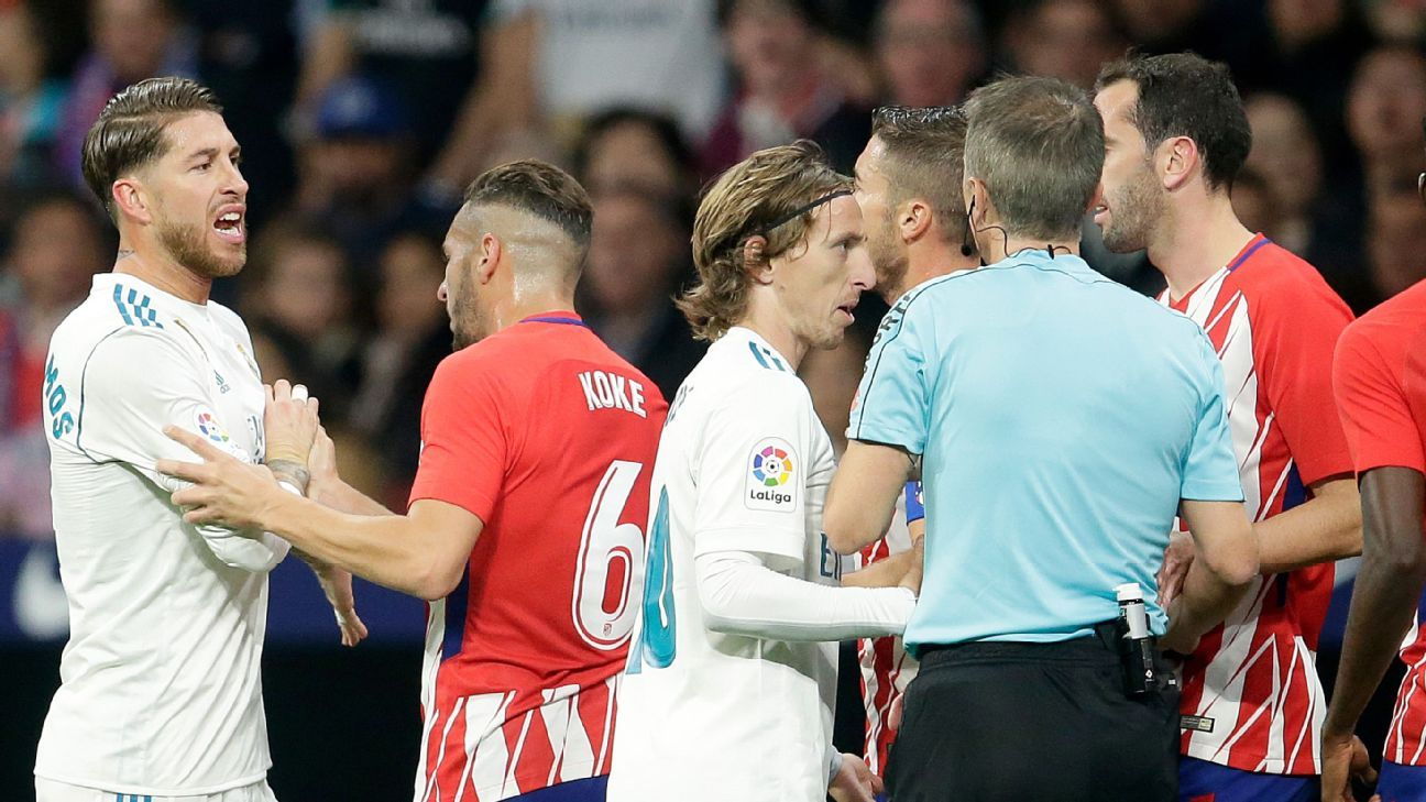 Sergio Ramos remonstrates with the referee during Real Madrid's La Liga fixture against Atletico Madrid.
