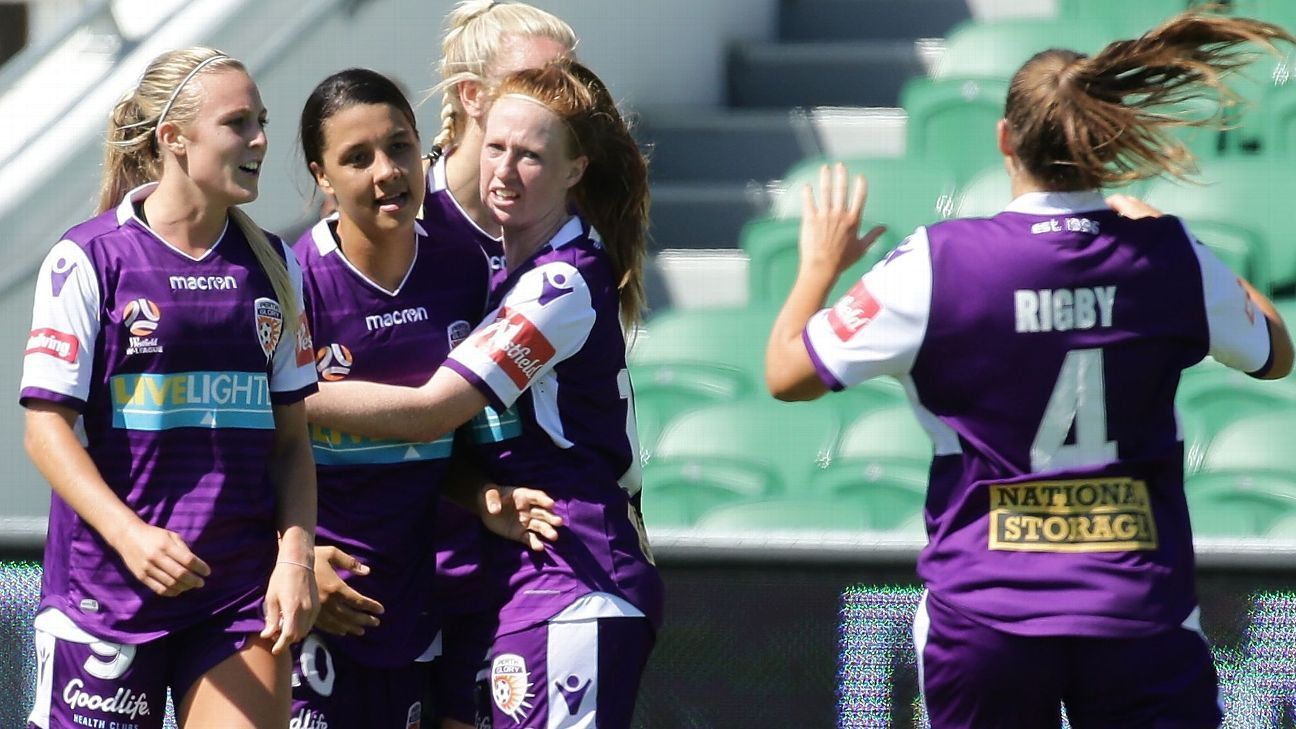 Samantha Kerr of Perth Glory celebrates after scoring during W-League match against Melbourne Victory