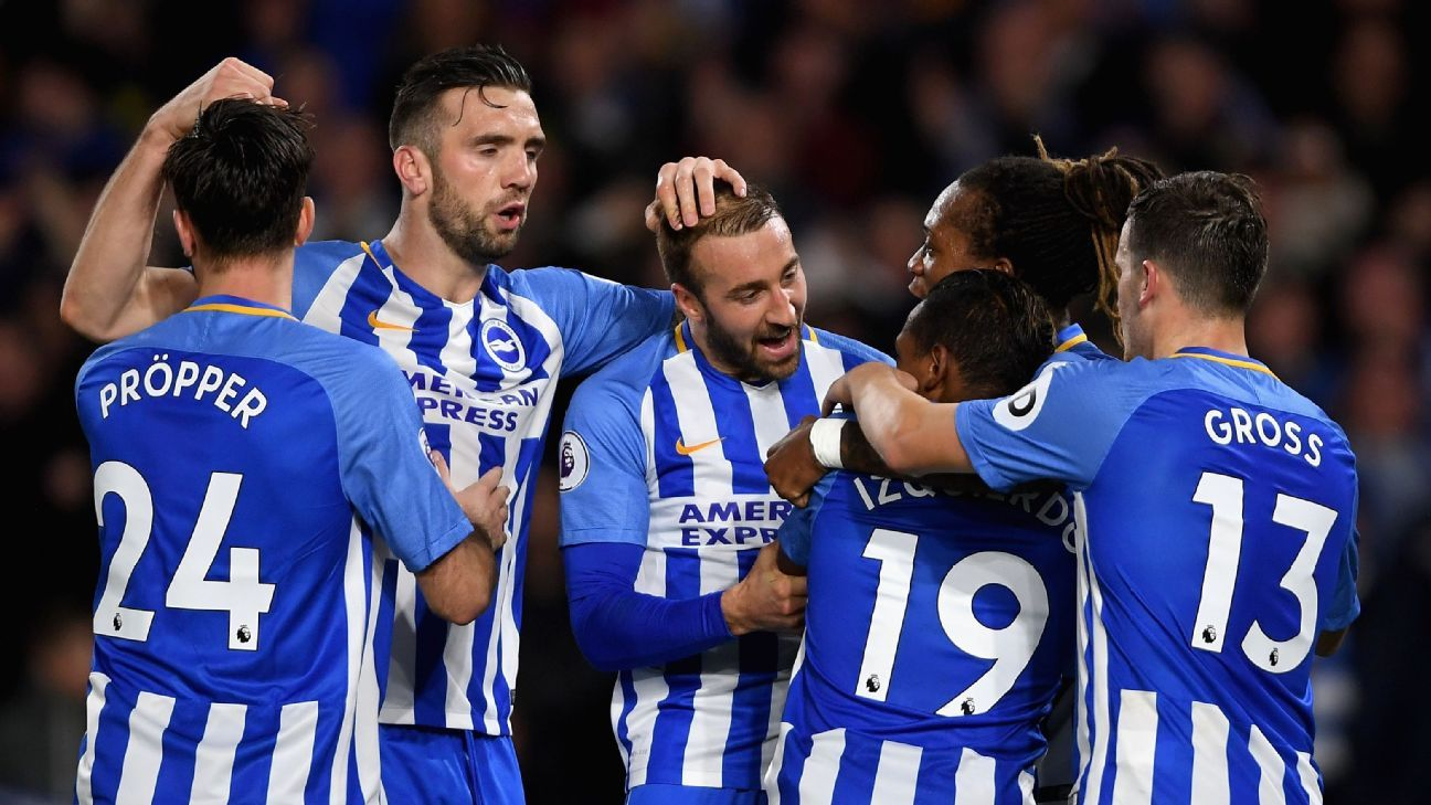 Jose Izquierdo of Brighton and Hove Albion celebrates scoring his side's second goal in a 2-2 draw against Stoke.