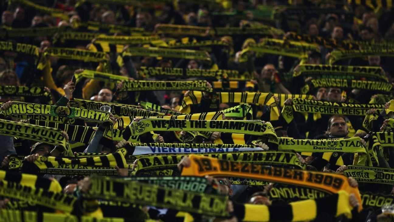 Borussia Dortmund fans look ahead to their clash with Tottenham.