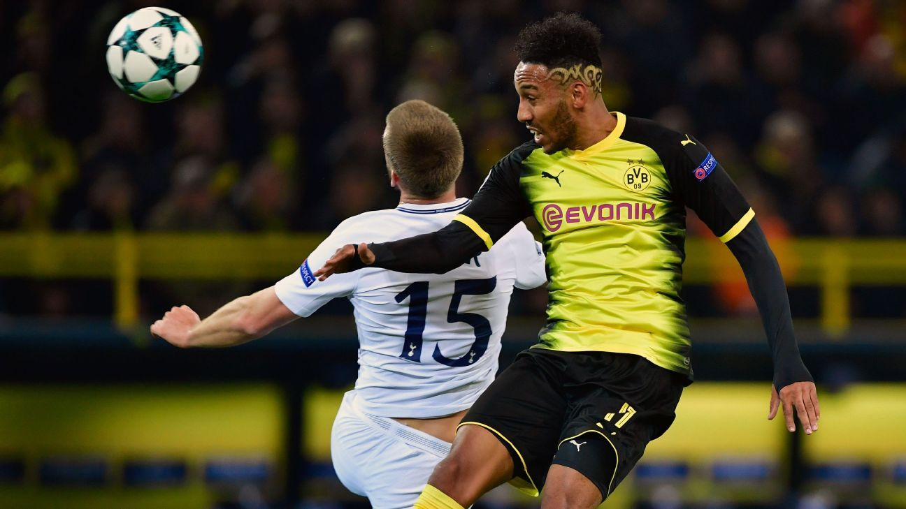 Pierre-Emerick Aubameyang put Borussia Dortmund in front against Tottenham.