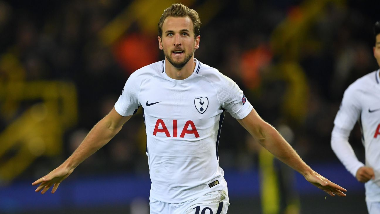 Harry Kane celebrates after scoring against Borussia Dortmund.