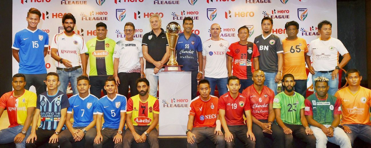 Coaches and players at a press conference for the launch of the I-League's 2017-18 season, in New Delhi on Tuesday.