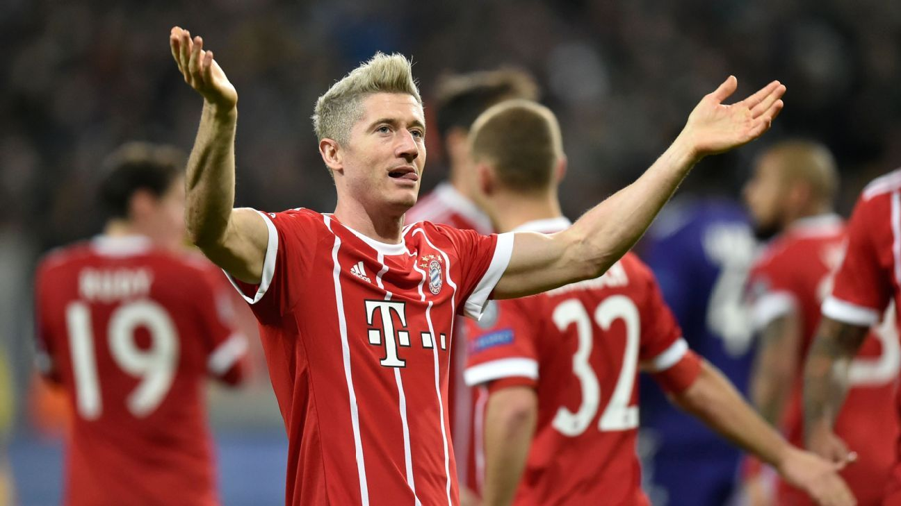 Robert Lewandowski scored Bayern's opener against Anderlecht.