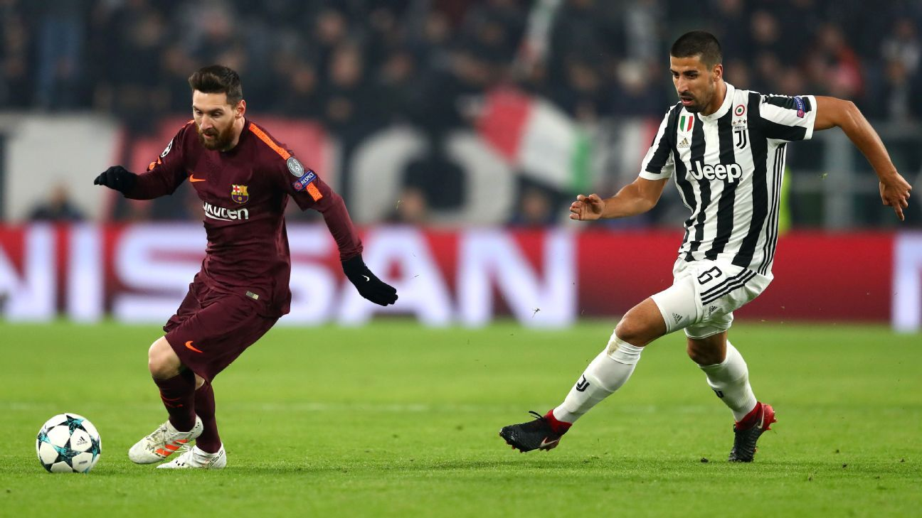 Lionel Messi of Barcelona and Sami Khedira of Juventus fighting it out in the Champions League.