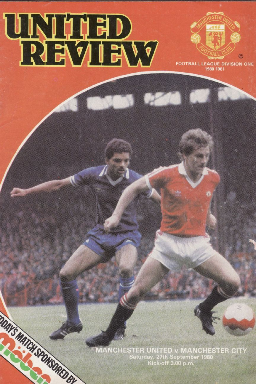 Coppell on the cover of United Review in 1980. The photo is from a match against Leicester, where he scored a goal.
