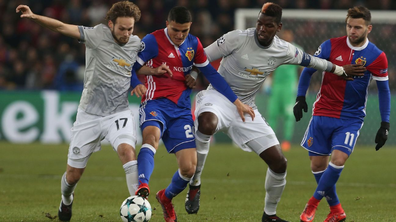 Daley Blind and Paul Pogba in action for Manchester United against Basel in the Champions League.