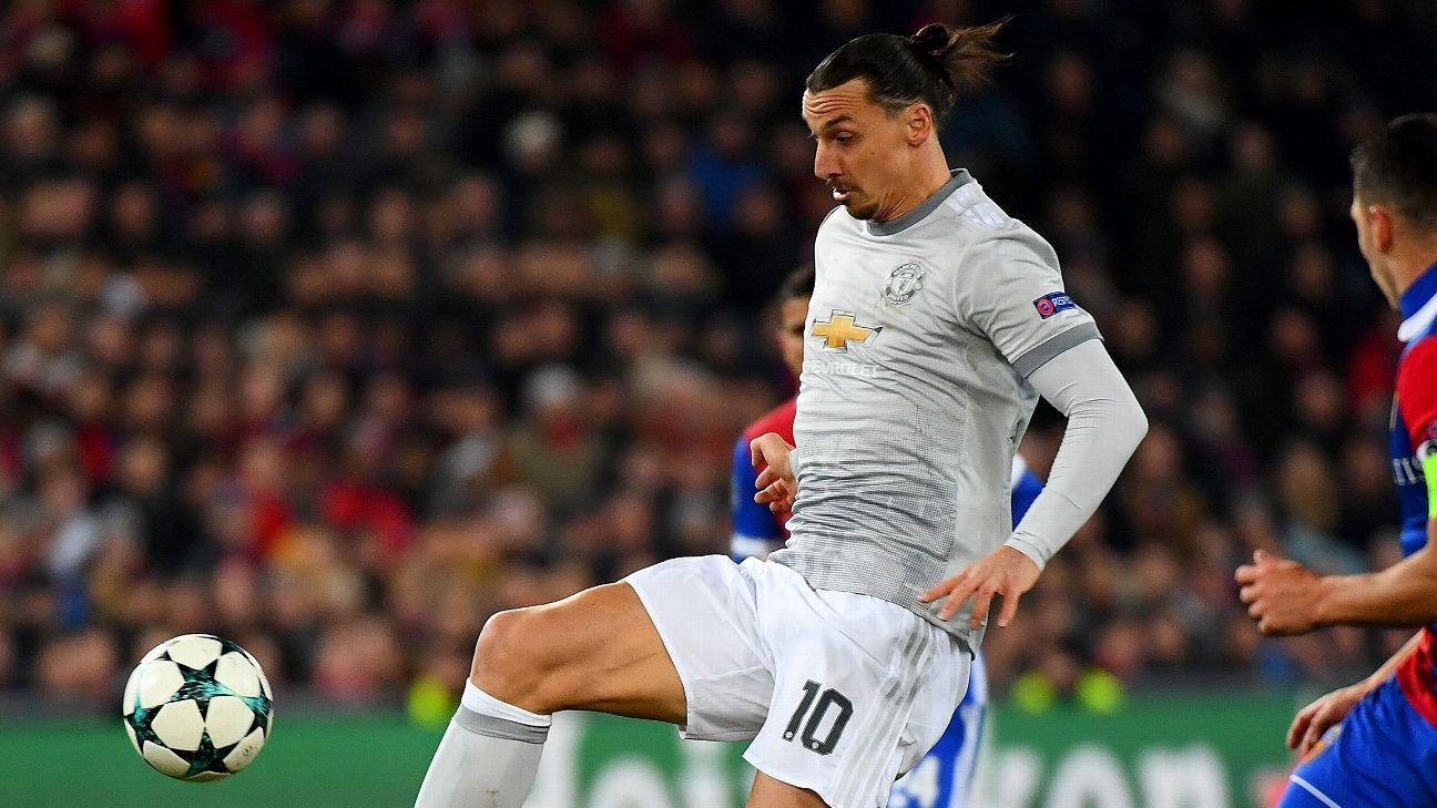Zlatan Ibrahimovic in action for Manchester United against Basel in the Champions League.
