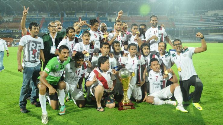 Mohun Bagan players celebrate after winning the I-League in 2015.