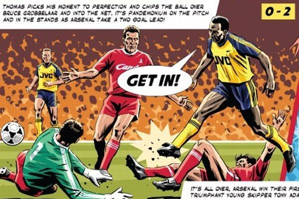 Artist Steve Gulbis has immortalised Arsenal's thrilling 1989 title victory at Anfield in comic-book form