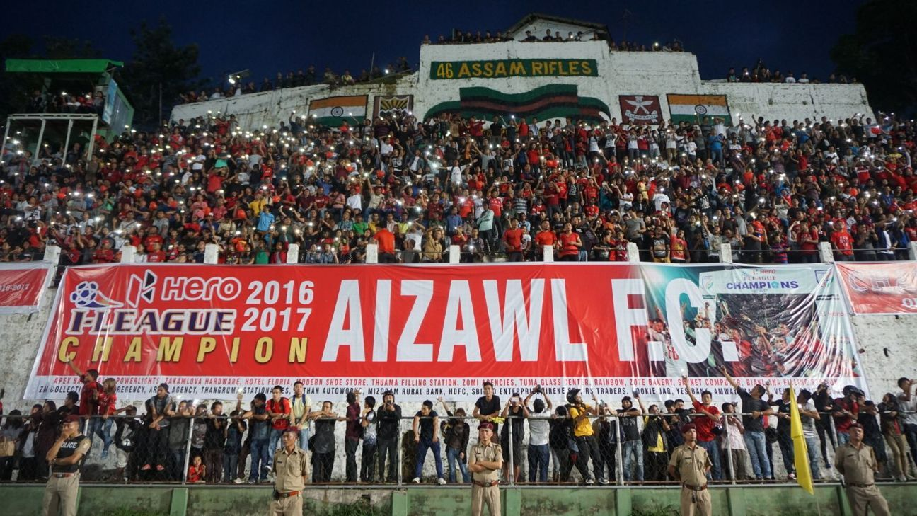 Aizawl FC celebrate their 2016-17 I-League title