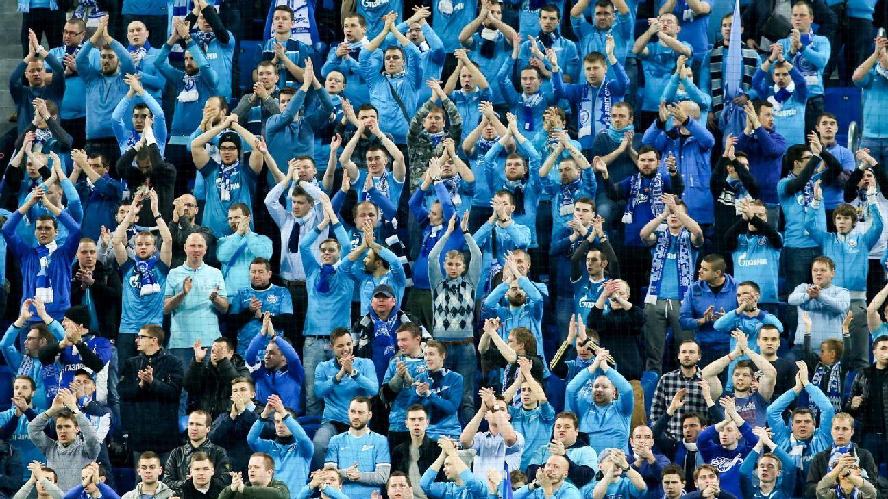 Zenit fans cheer in Europa League