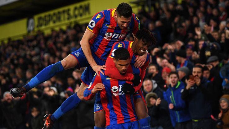 Ruben Loftus-Cheek celebrates his goal for Crystal Palace against Stoke.