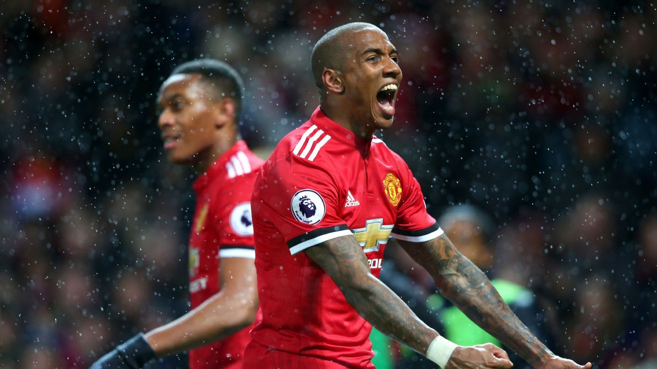 Ashley Young saw his strike deflect in off Lewis Dunk.