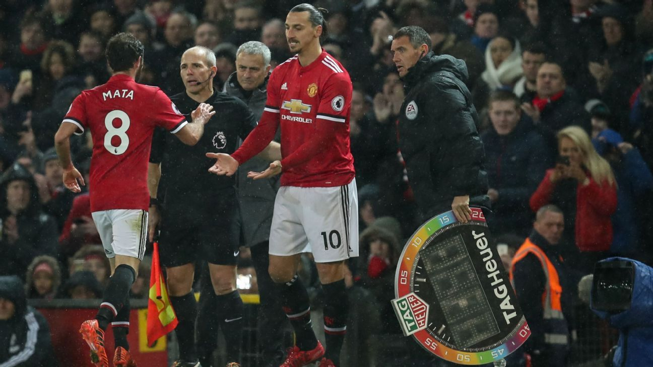 Zlatan Ibrahimovic comes on for Manchester United against Brighton.