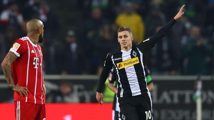 Thorgan Hazard puts Borussia Monchengladbach ahead against Bayern Munich.