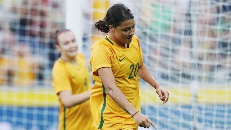 Sam Kerr celebrates after scoring for Australia against China.