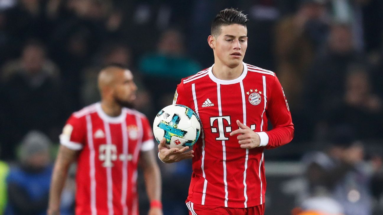 James Rodriguez during Bayern Munich's Bundesliga game against Borussia Monchengladbach.