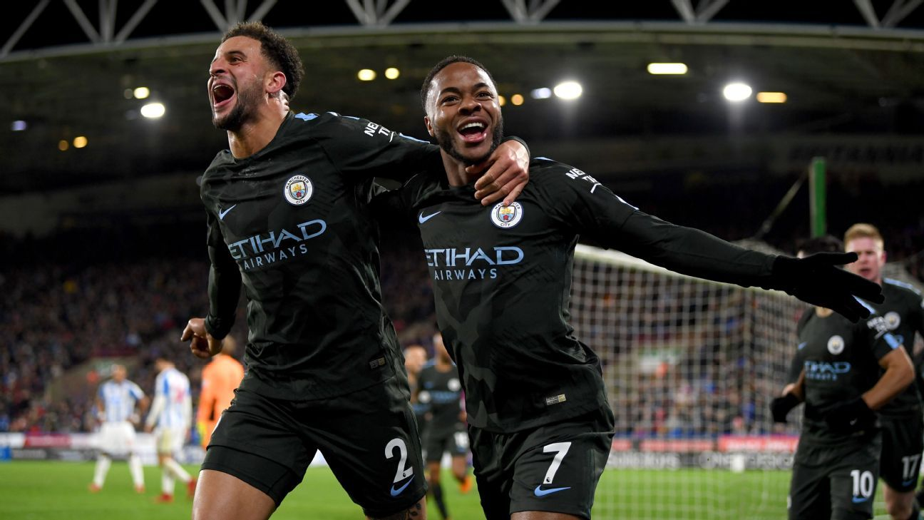 Raheem Sterling celebrates his winner.