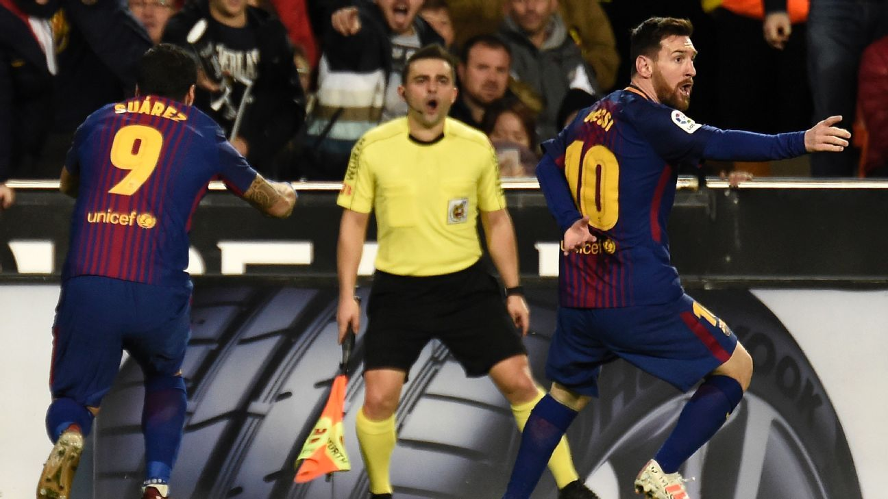 Lionel Messi had a goal denied in Sunday's draw vs. Valencia.