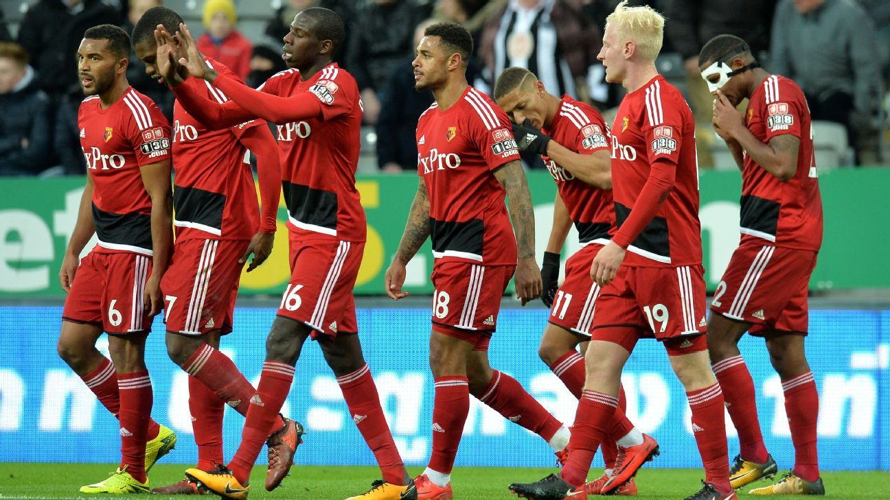 Watford players celebrate during their Premier League win against Newcastle.