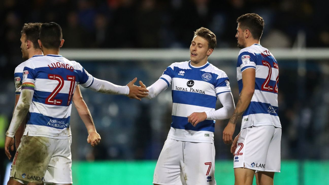 Luke Freeman (centre right) scored QPR's opener on Monday.