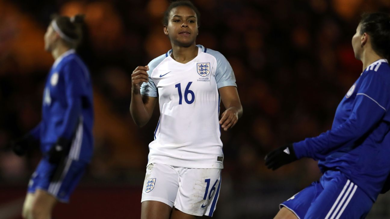 England's Nikita Parris celebrates scoring her side's fourth goal.