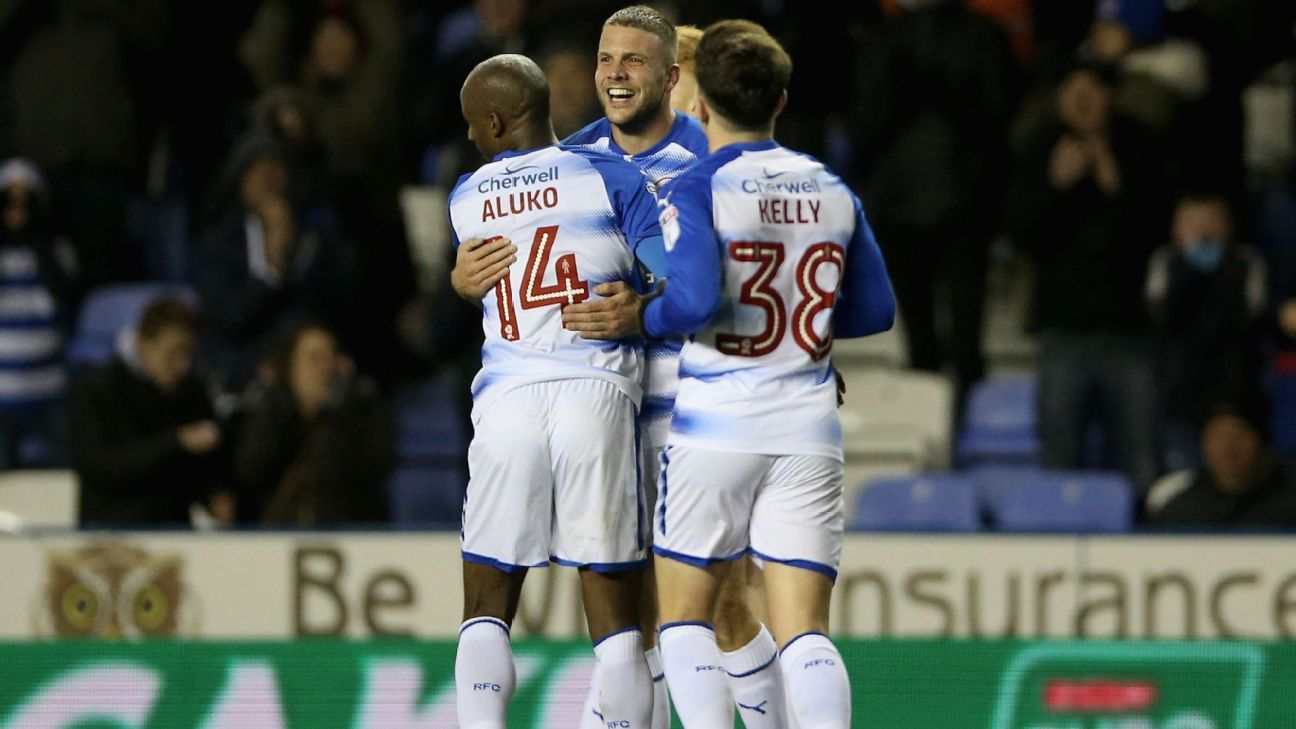 Joey van den Berg, of Reading, celebrates scoring his side's second goal with teammates.