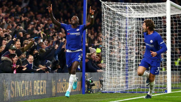 Antonio Rudiger celebrates scoring for Chelsea.