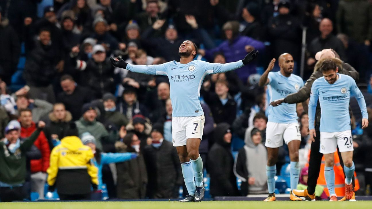 Raheem Sterling celebrates his winner against Southampton.