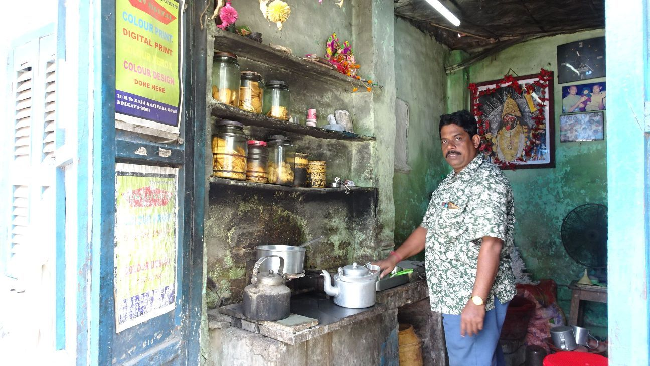 Bapi Maji at his tea shop