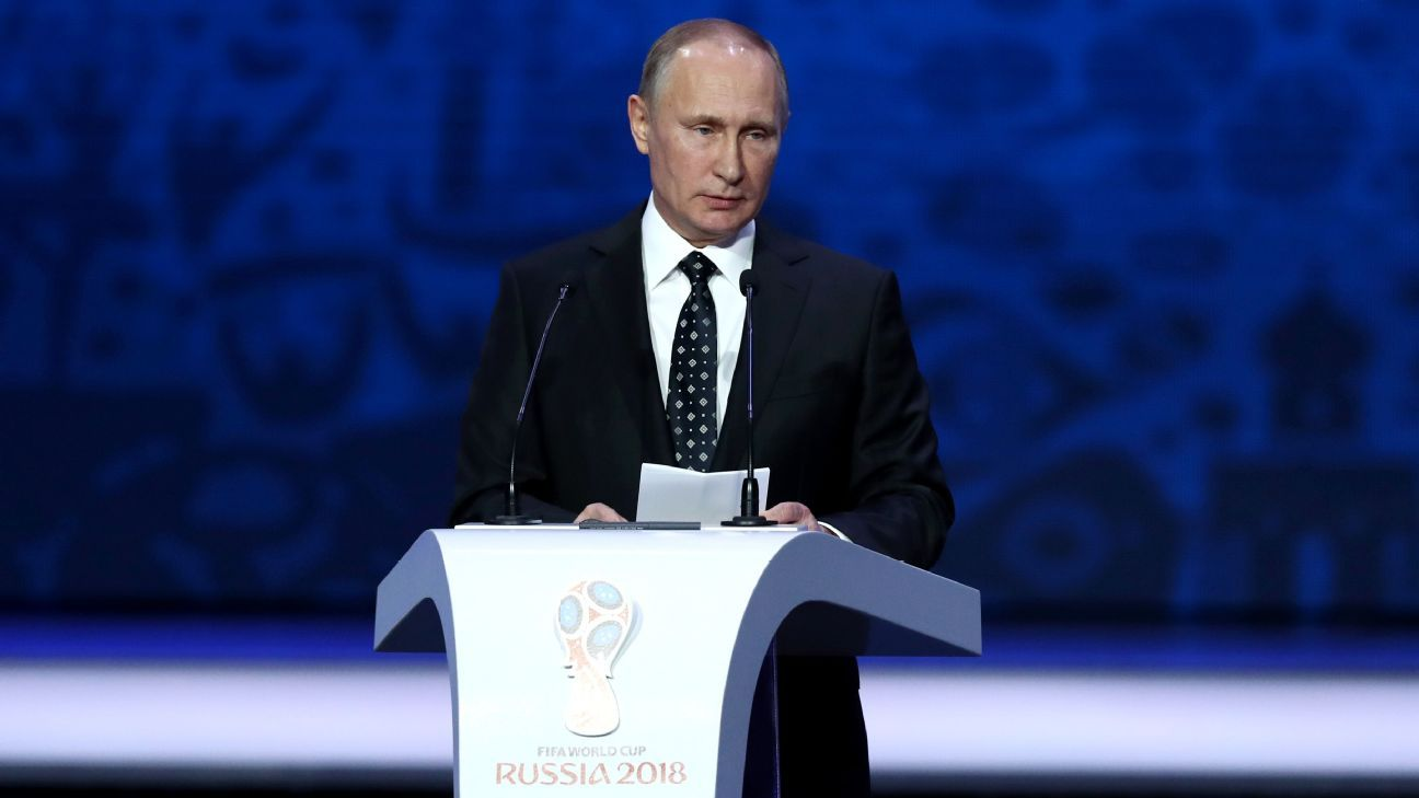 Russia president Vladimir Putin on stage at 2018 World Cup draw