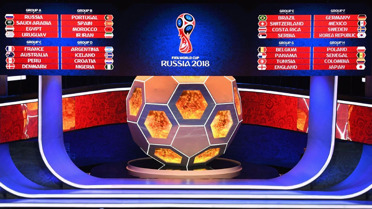 The full draw for the 2018 World Cup finals in Russia