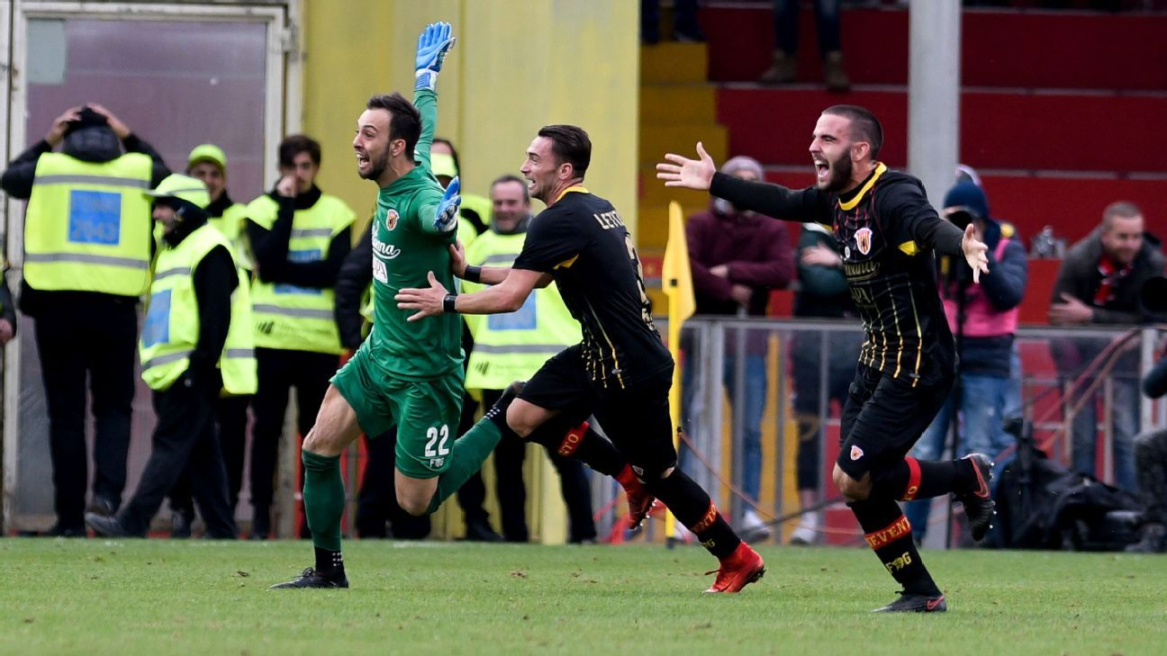 Goalkeeper Alberto Brignoli was Benevento's unlikely hero against Milan.