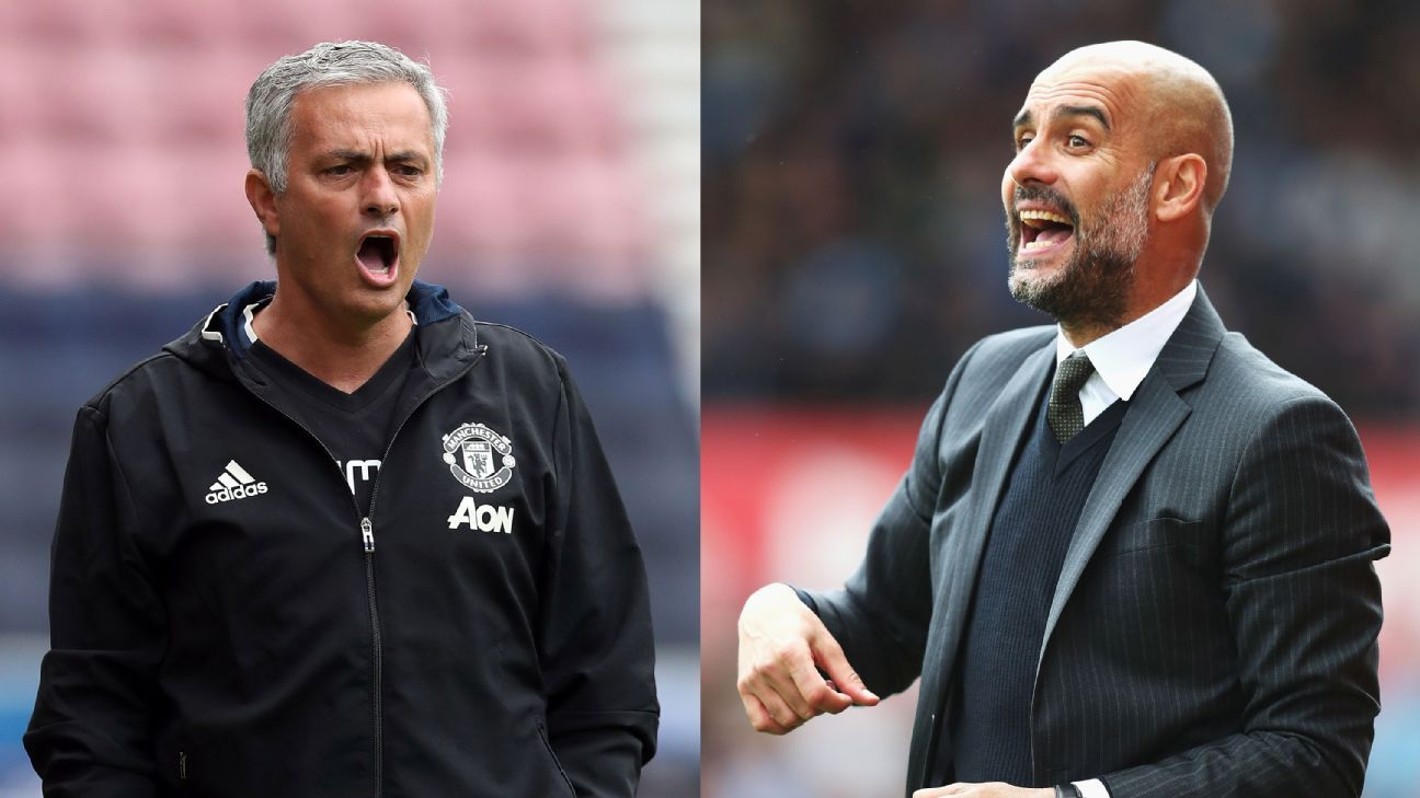Jose Mourinho (left) and Pep Guardiola (right) are polar opposites from a philosophical level.