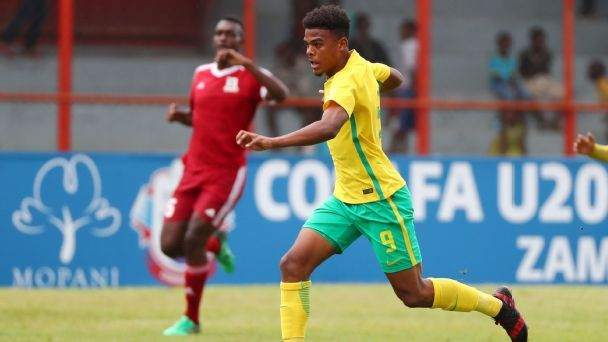 Lyle Foster of South Africa during the 2017 COSAFA U20 football match between South Africa and Mauritius at Nkana Stadium, Kitwe.