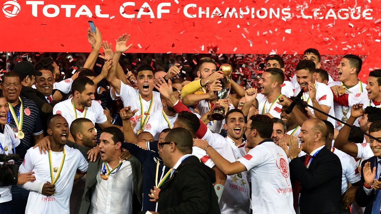 Wydad Casablanca's players celebrate winning the CAF Champions League