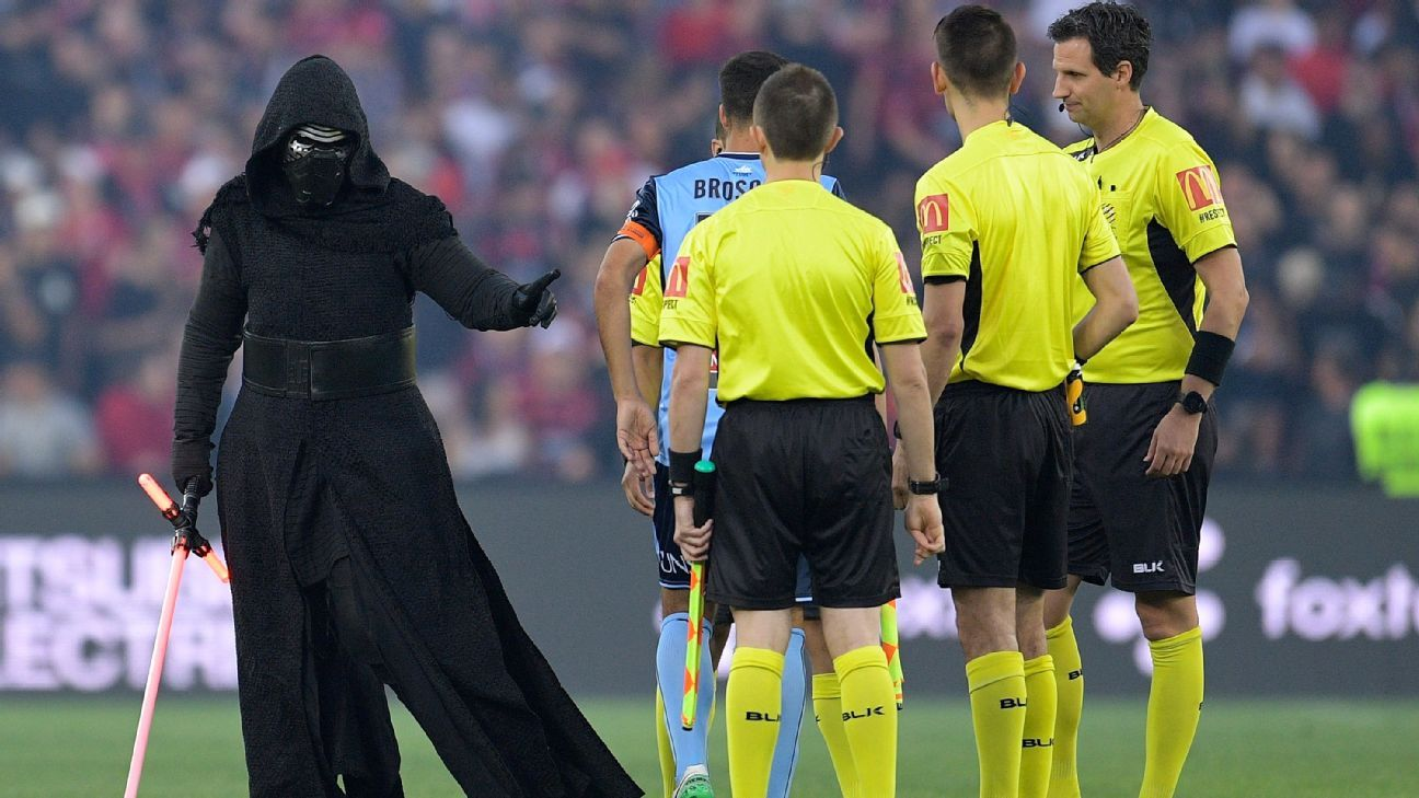 Star Wars character Kylo Ren at coin toss before A-League clash between Western Sydney Wanderers and Sydney FC