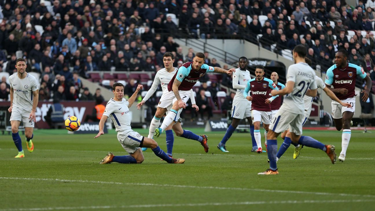 Marko Arnautovic fires West Ham into the lead.