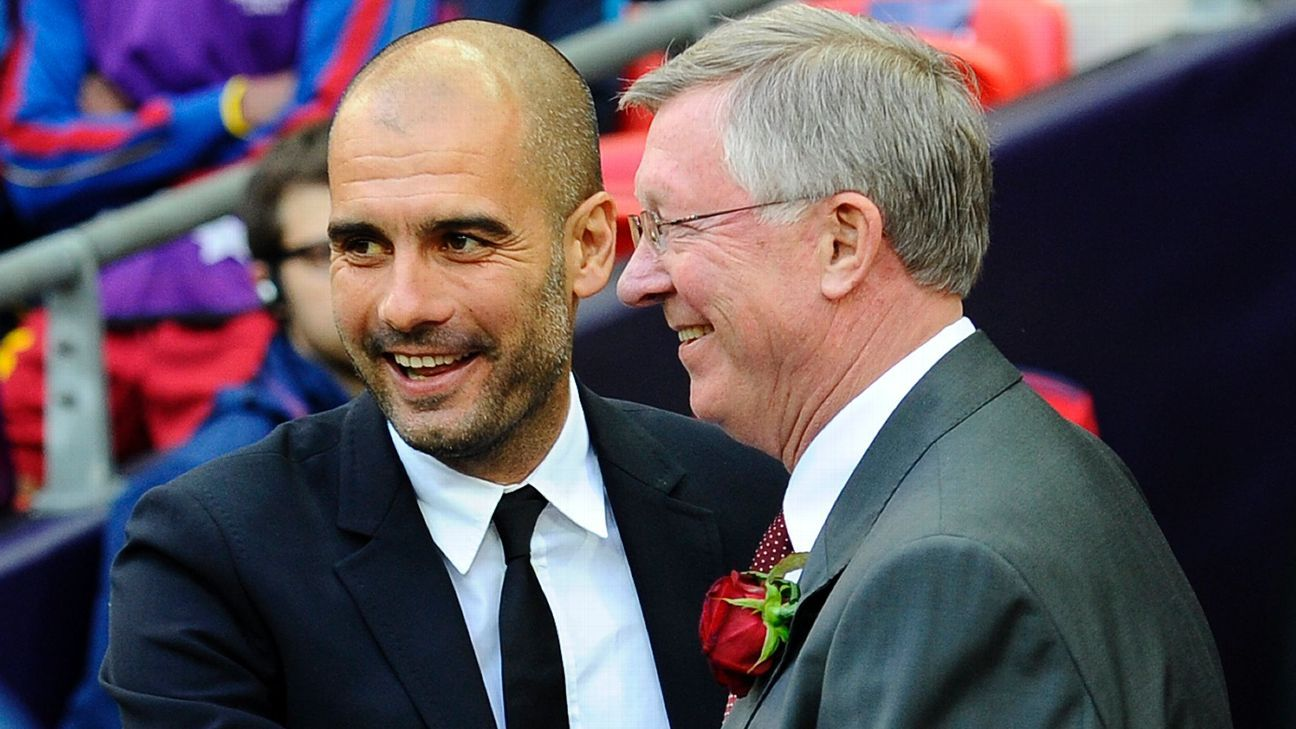 Pep Guardiola and Alex Ferguson