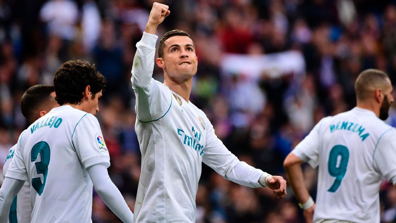 Cristiano Ronaldo celebrates his second goal.