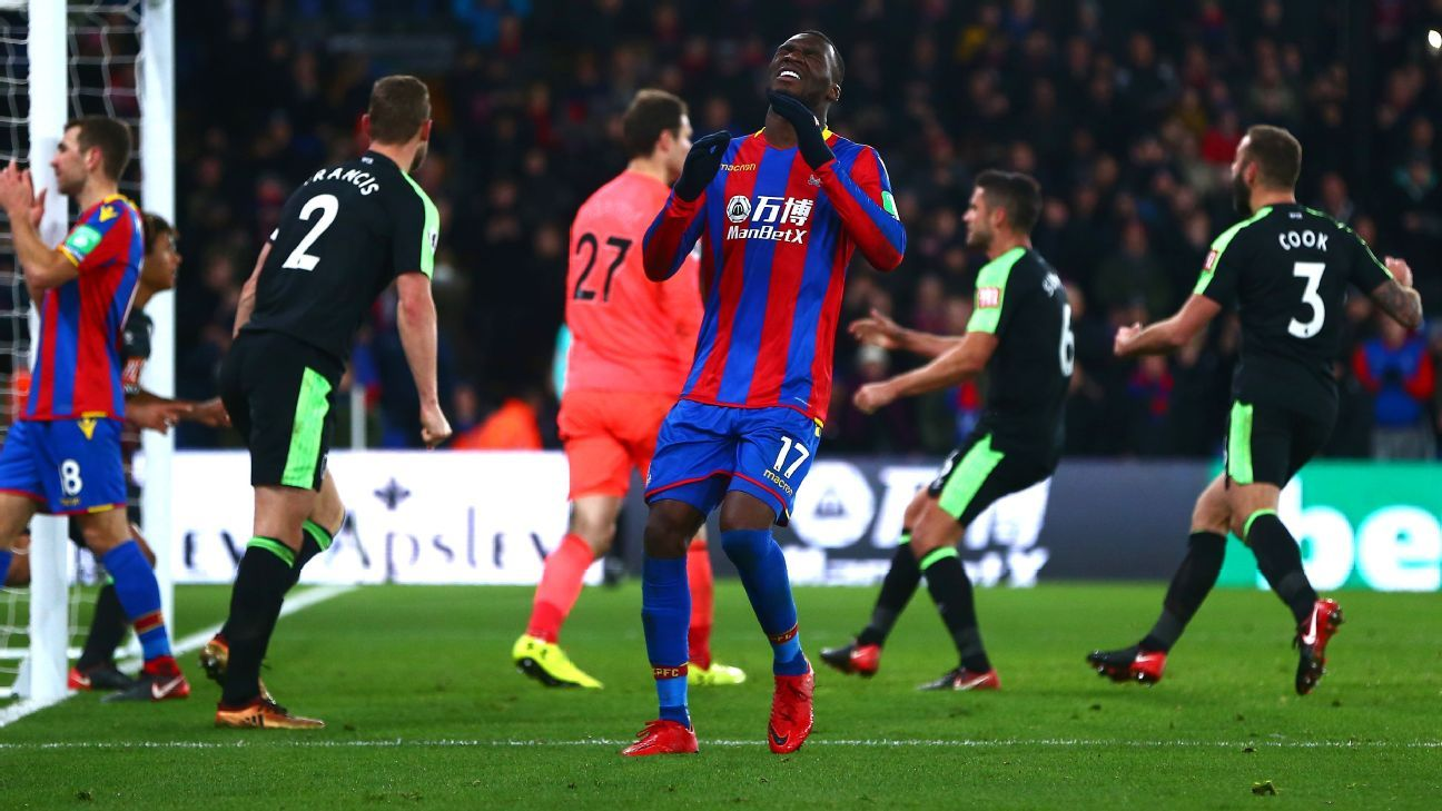 Christian Benteke missed a last-minute penalty for Crystal Palace.