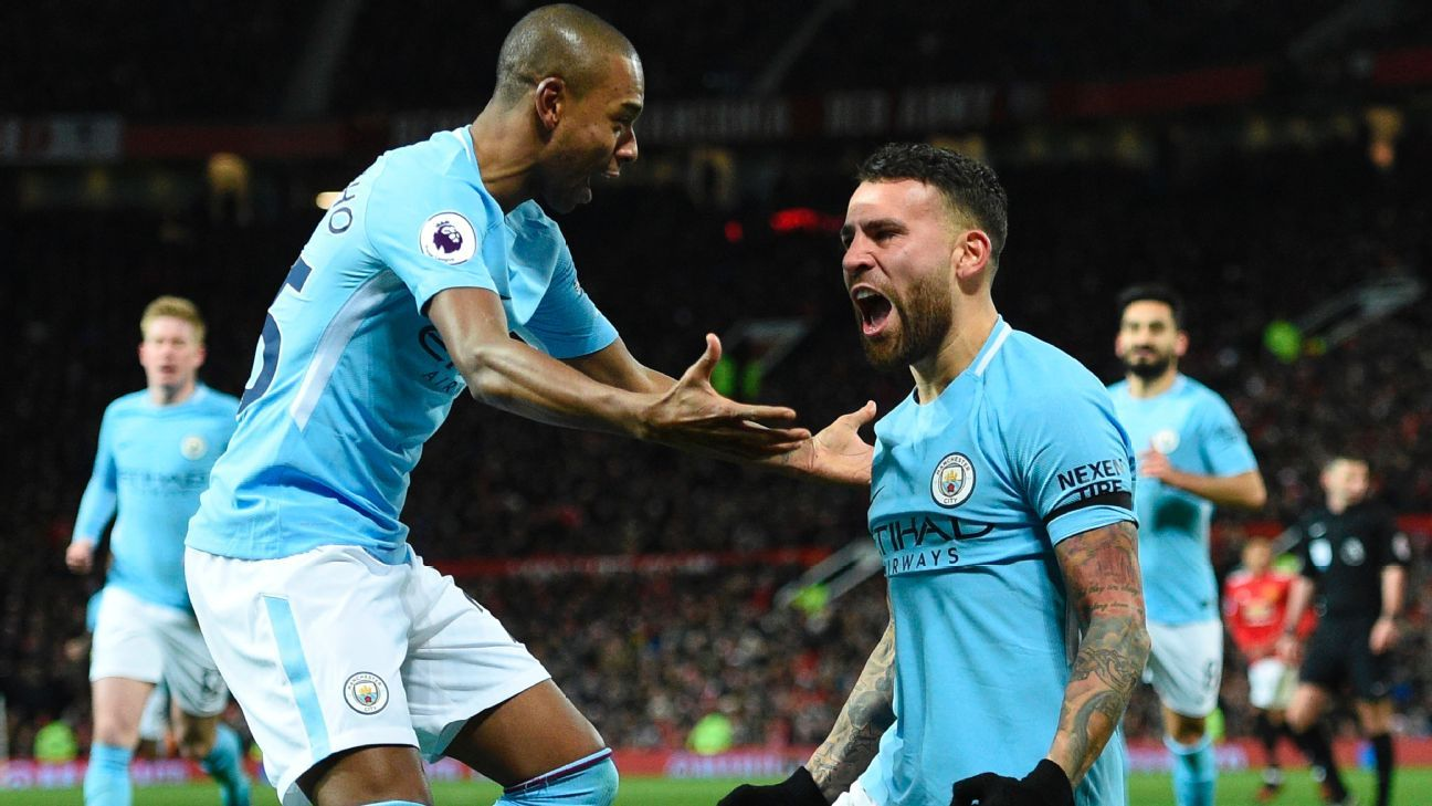 Nicolas Otamendi celebrates after scoring at Old Trafford.