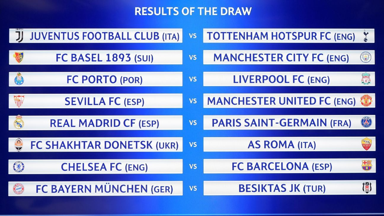 A picture shows a board displaying the fixtures after the draw for the round of 16
