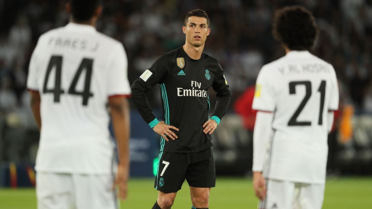 Cristiano Ronaldo during Real Madrid's Club World Cup game against Al Jazira.