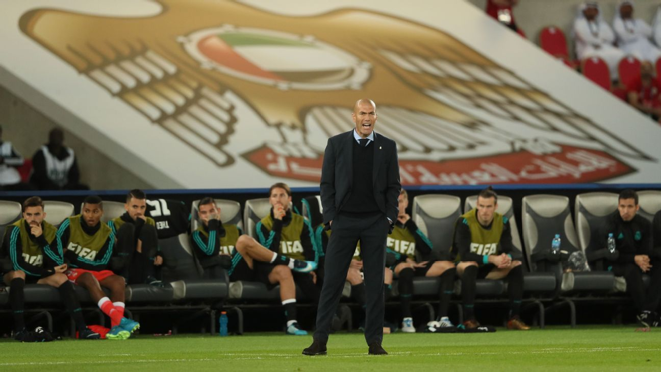 Zinedine Zidane during Real Madrid's Club World Cup game against Al Jazira.