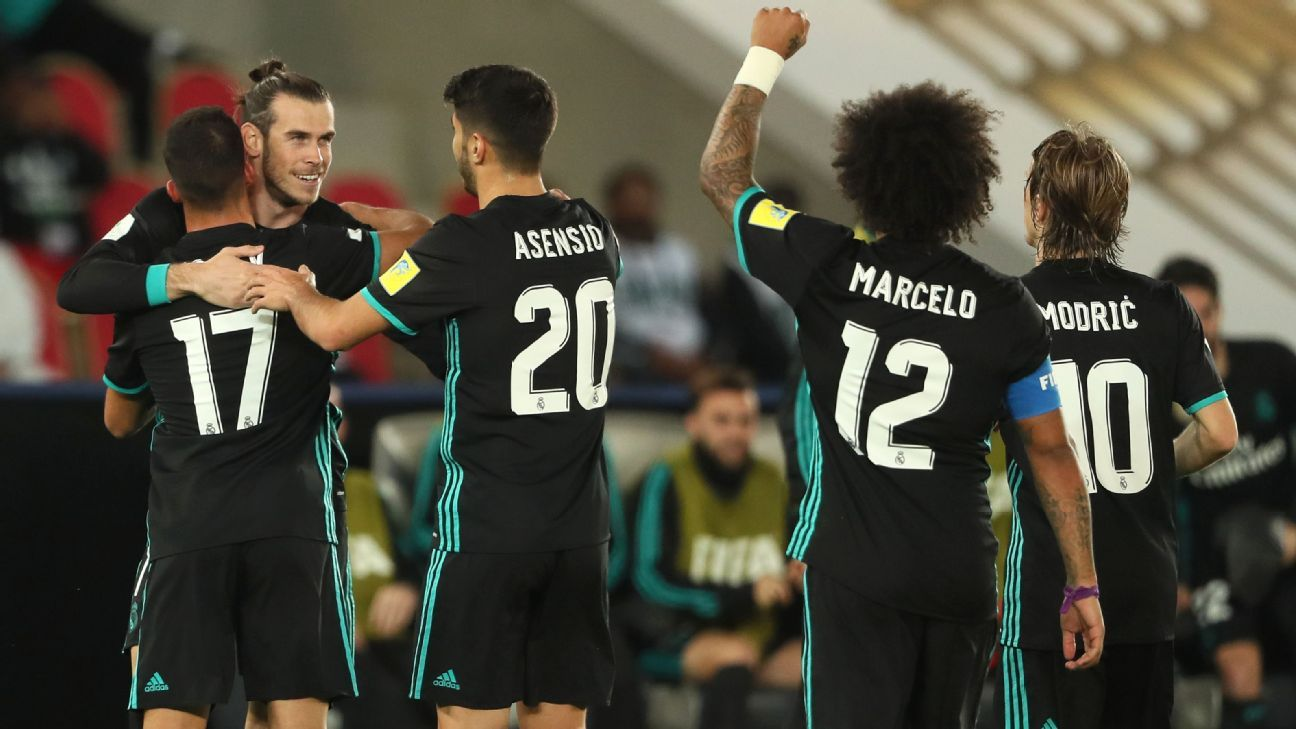 Gareth Bale is congratulated after scoring for Real Madrid against Al Jazira.
