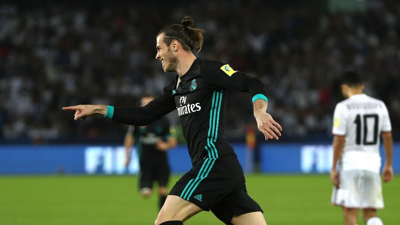 Gareth Bale celebrates after scoring for Real Madrid against Al Jazira.